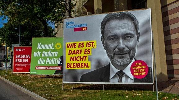 Wahlplakate zur Bundestagswahl im September 2021