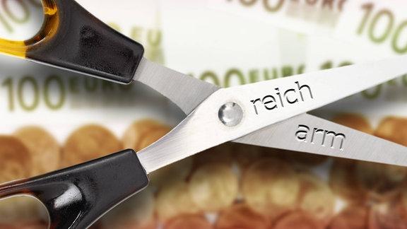 """Auf den geöffneten Blättern einer Schere, stehen die Worte """"reich"""" und """"arm"""""""