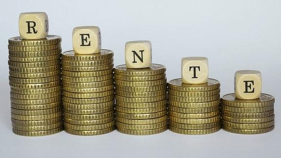 Geldstücke und Rente