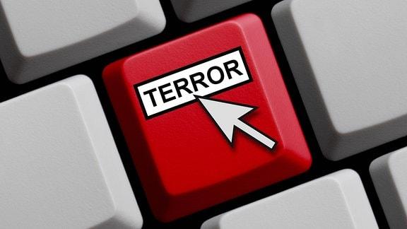 Computertastatur mit einer Taste - Terror.