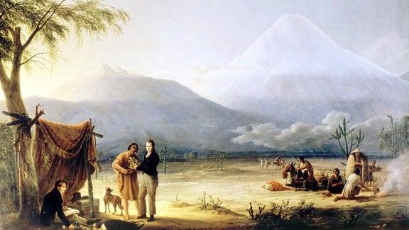 historische Zeichnung: Humboldt und Bonpland in den Anden
