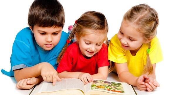 Kinder lesen gemeinsam in einem Buch