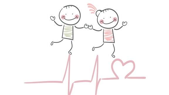 """Grafik zeigt einen Jungen und ein Mädchen, Hand in Hand über eine Herz-Sinuskurve hüpfend, darunter das Wort """"love"""""""