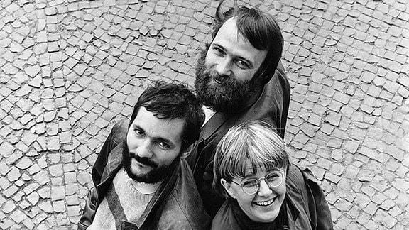 Matthias Platzeck, Günter Nooke und Marianne Birthler posieren für ein Wahlplakat.