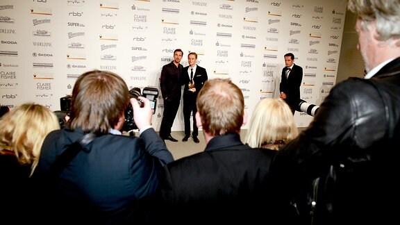 Florian David Fitz, Matthias Schweighöfer mit Fotografen