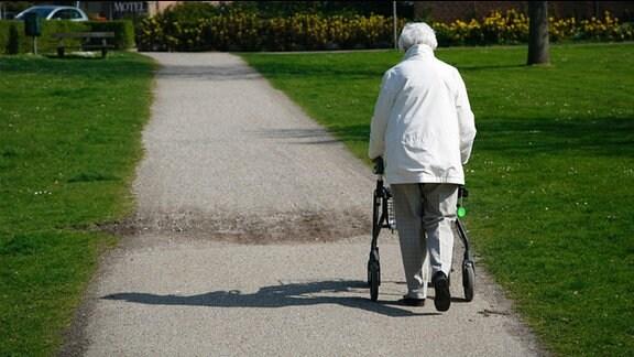 Eine Frau mit einem Rollator geht durch einen Park