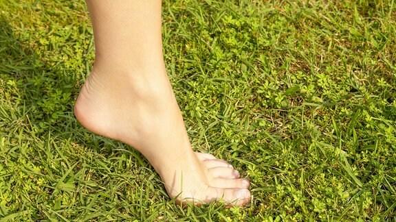 Ein Fuß im Zehenstand auf einer Wiese