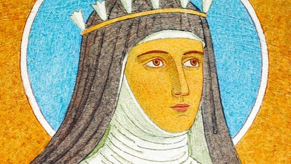 Portrait von Hildegard von Bingen, Wandmalerei im Kloster St. Hildegard in Rüdesheim am Rhein