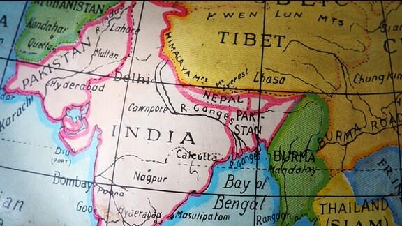 ein Kartenausschnitt, der Indien und seine Nachbarländer zeigt