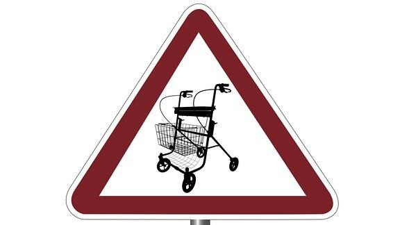 Auf einem Warnschild ist ein Rollator abgebildet