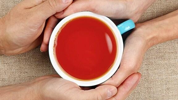 von Händen umfasste Teetasse