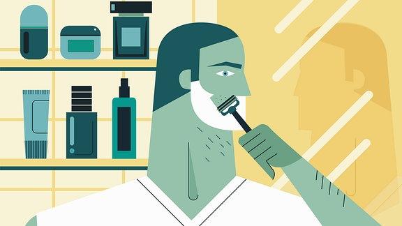 Grafik: Mann rasiert sich vor Badezimmerspiegel