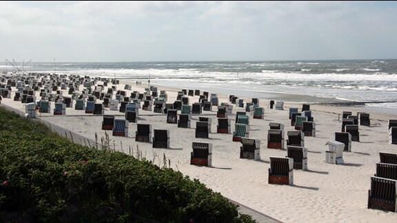 Strand von Wangerooge mit unzähligen Strandkörben