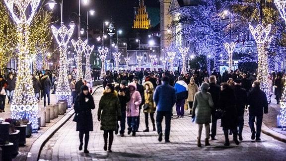 Weihnachtsbeleuchtung in Warschau