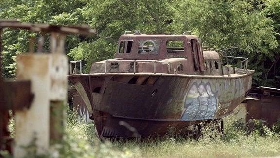 Schiffswrack aufgebockt am Ufer