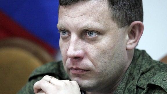 Alexander Sachartschenko bei einer PK in Luchansk, 2015.