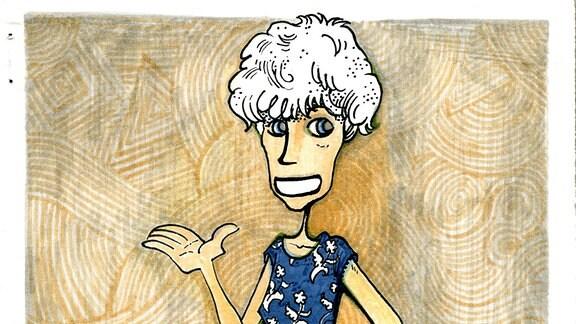 Comiczeichnung, die eine Frau darstellt