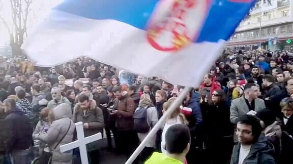 Protest am 15. Februar 2017 in Belgrad gegen Bauprojekt Waterfront