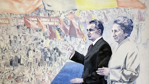 Hommage an das Diktatoren-Ehepaar Elena und Nicolae Ceausescu - Das Gemälde stammt vom rumänischen Maler Ion Bitzan.