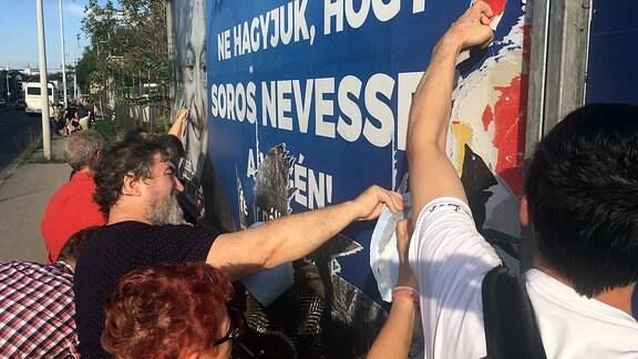 Együtt-Aktivisten entfernen Anti-Soros-Plakate in Budapest, 12.07.2017.