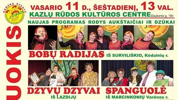 Ein Plakat des albernen Humorfestival 'Juokis'