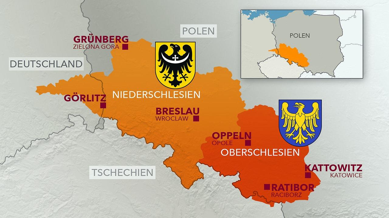 Schlesien Karte Deutsche Ortsnamen.Thema