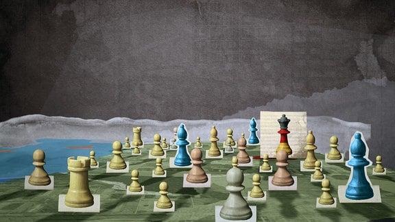 Schachfiguren auf DDR-Landkarte