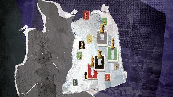 Karte Ostdeutschlands mit Schachfiguren