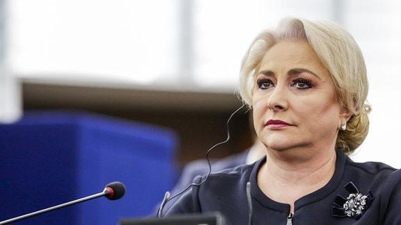 Rumänische Regierungschefin Viorica Dancila bei einer Rede im Plenarsaal des EU-Parlaments