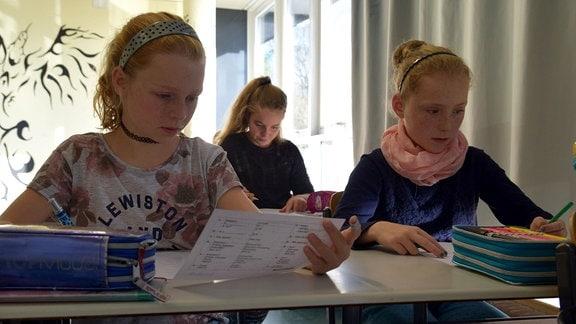 Schülerinnen lesen einen Aufgabenzettel.