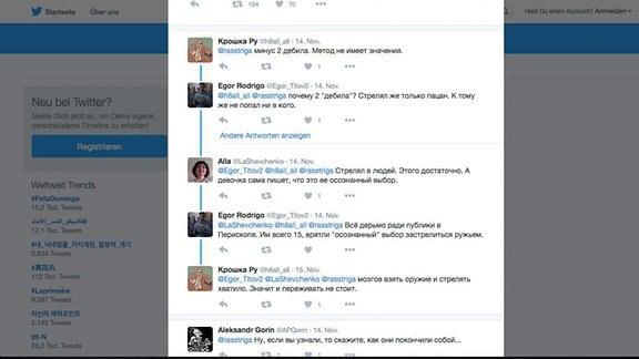 Screenshot, Twitter Kommentar