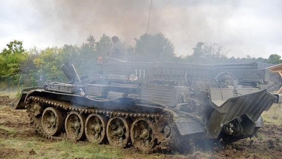 ein Panzer auf der Wiese