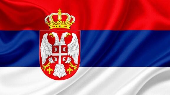 Die Flagge Serbiens
