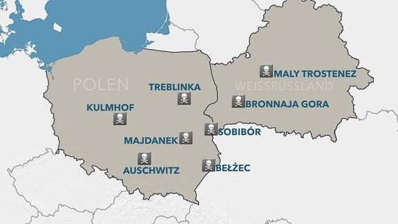Eine Karte mit Vernichtungslagern in Polen und Weissrussland