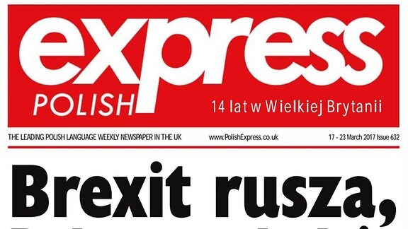 """Titelblatt der polnischsprachigen Zeitung """"Polish Express"""" für in UK lebende Polen, zum Thema Brexit"""