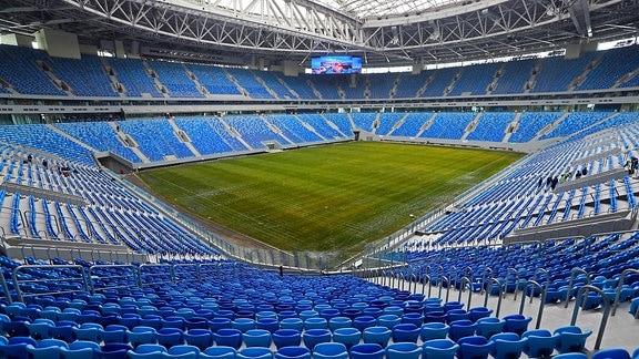 Die Baustelle des zukünftigen WM-Stadions aufgenommen am 20.07.2015 in St. Petersburg (Russland)