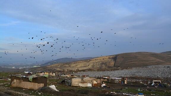 Ein Teil der Arbeiter lebt gleich neben der Mülldeponie von Pata Rat in Cluj (Rumänien)