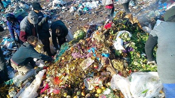 Roma sortieren den Müll auf der Deponie von Pata Rat (Rumänien) und suchen nach Essbarem