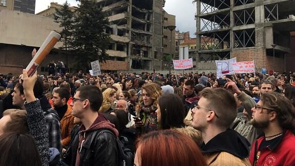 Proteste gegen Aleksander Vucic in Belgrad (Serbien)