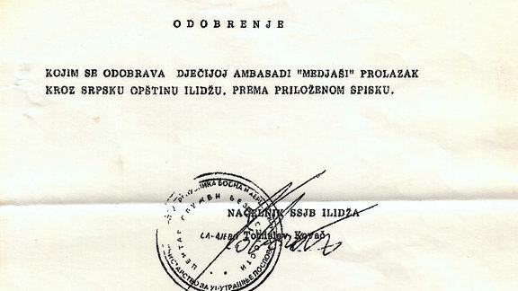 Sarajevo- Das entscheidende Dokument - Erlaubnis zur Ausreise