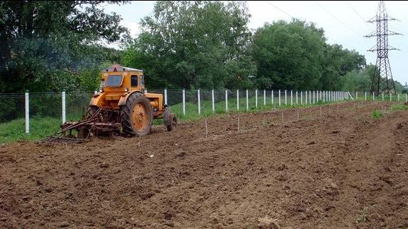Landwirtschaft an der Grenze zu Transnistrien: Ein Traktor fährt auf einem unbestellten Feld unmittelbar an einem Zaun entlang.