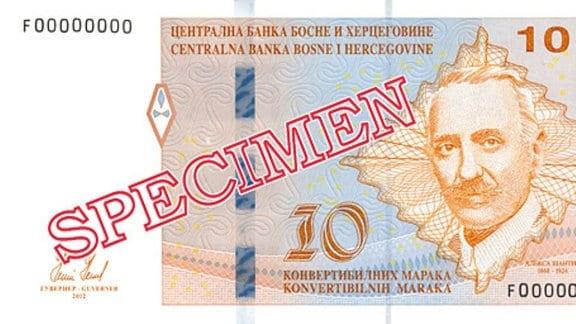 Abbildungen der Landeswährung Bosnien-Herzegowinas und Serbien.