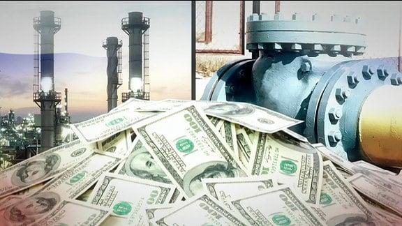 Kollage: Erdölraffinerie und mehrere Dollarnoten