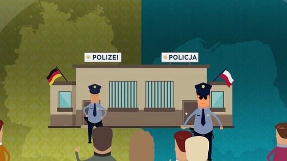 Grafik: Polnische und Deutsche Polizei