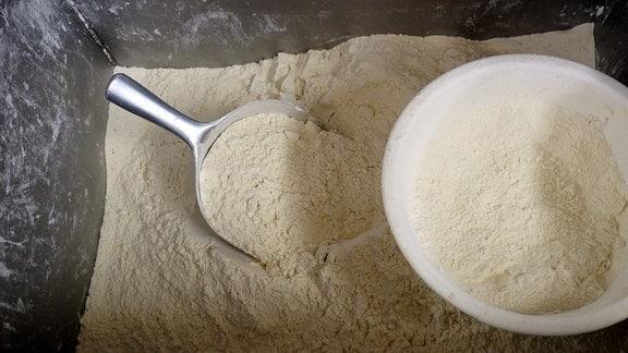 Mehl in einem Edelstahlbottich. Im Mehl stecken eine Handschaufel und eine kleine Schüssel.