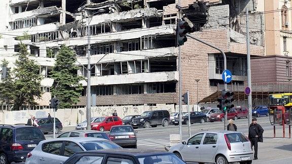 Serbisches Verteidigungsministerium , welches 1999 bei Luftangriffen der NATO zerstoert wurde.