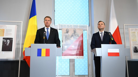 Staatsoberhäupter Rumäniens: Klaus Iohannis (Rumänien, links) und Andrzej Duda (Polen) bei einem bilateralen Treffen in Warschau Anfang Juni