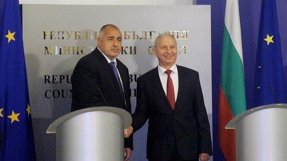 Ministerpräsident Boiko Borissow bei der Amtsübergabe.
