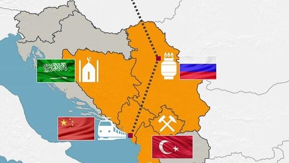 Karte des Westbalkan mit den Einflusssphären verschiedener Länder.