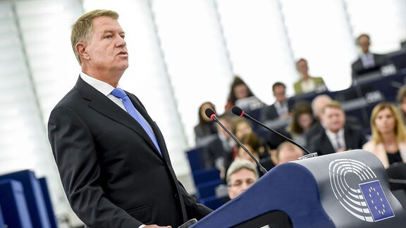 Rumänischer Präsident Klaus Iohannis spricht vor EU-Parlament